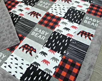 Buffalo Plaid Minky Baby Blanket - Buffalo Plaid Blanket Faux Quilt - Baby Bear Blanket - Lumberjack - Buffalo Check Baby Blanket Toddler
