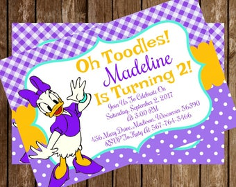 Daisy Duck Disney Birthday Party Invitation Download 4 x 6 - Mickie Mouse Clubhouse Oh Toodles