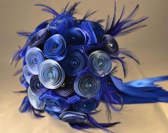 Wedding Bouquet Baby Blue Navy Blue Paper Flowers