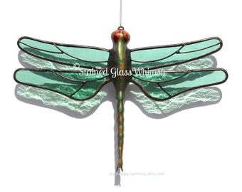 Dragonfly Suncatcher, Stained Glass, Transparent Light Sage/Sea Foam Green Wings, Textured, USA Handmade, Green Dragonfly, Green Firefly