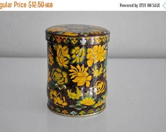 ON SALE Vintage Yellow Floral Flower Tea Tin Made in England