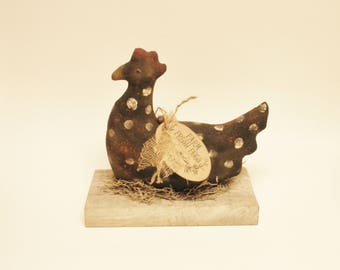 Primitive Spotted Hen on Barnwood Base, Primitive Chickens, Country Farmhouse Decor, Primitive Animals