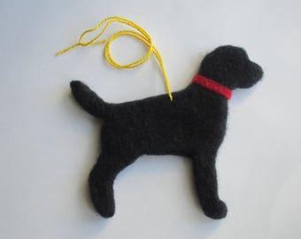 Needle Felted Black Labrador Retriever Ornament