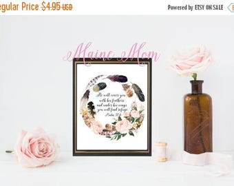 ON SALE He will cover you with his feathers, Psalm 91:4, Flowers, Inspirational, Religious, Art, 8 x 10 Digital Print, Inspirational Gift, A