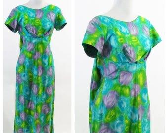 SUMMER SALE Vintage 60's  Blue Green Maxi Hawaiian Dress - Tropical Print Empire Waist Fishtail Dress - Cotton Casual Summer Festival Dress