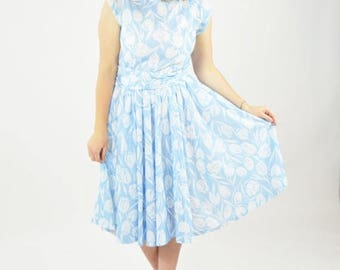 SUMMER SALE Vintage 60's Blue Floral Sundress -  Tulip Print Belted Short Sleeve Cotton summer Dress - Garden Party Tea Time Brunch Dress -
