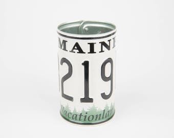 Maine License Plate Pencil Holder - Back to School supply - Dorm Room Decor - Graduation Gifts - Flower Vase - Maine souvenir