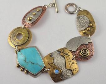 Mixed Metal Bracelet - Metalsmith Bracelet - Turquoise Bracelet - Artisan Jewelry