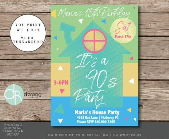 Tween 90s or 80s Digital Invitation 90s Birthday Invitations 80s
