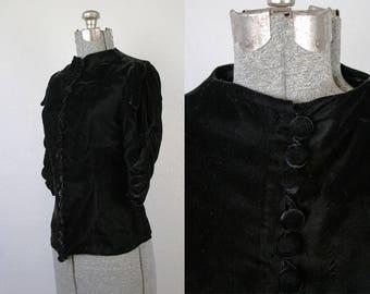 1930's Black Silk Velvet Blouse / Size Small or Medium