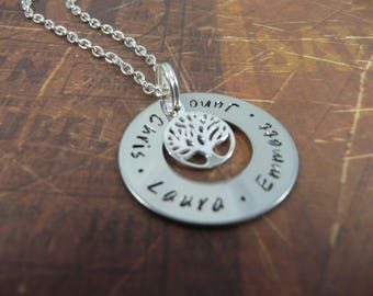 Hand stamped family tree washer necklace, 25mm, personalised