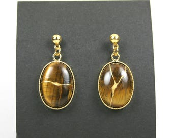 Kintsugi (kintsukuroi) tiger eye stone earrings with gold repair in gold plated settings hanging from gold ball posts - OOAK