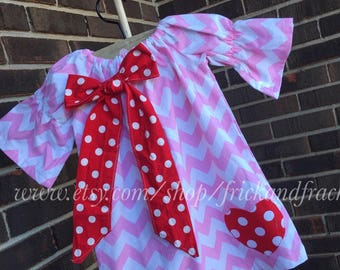 Ready to Ship size 2T Valentine's Day Dress, Heart Dress, Baby Dress, Toddler Dress, Pink and White Chevron Dress