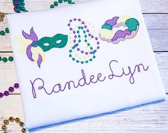 Personalized Mardi Gras Applique Shirt for Girls - Embroidered Sketch Stitch