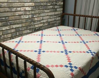 Vintage Quilt / Irish Chain Quilt / Blue and White Quilt / Handmade Quilt / Homemade Quilt / Old Quilt Top / Pink and Blue Irish Chain Quilt