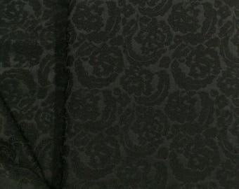 Wool Acetate Brocade Fabric / Vintage Brocade Fabric / Vintage Wool Blend Fabric / Black Brocade Wool Fabric / Black Brocade