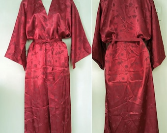 NEW Deadstock Large 12 14 16 Pure Silk Dressing Gown Made in Vietnam Burgundy KIMONO Bath Robe Cherry Red