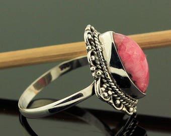 Rhodochrosite Pink Ring // 925 Sterling Silver // Ring Size 8 // Handmade Jewelry