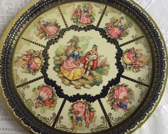 Young Lovers Tin Serving Tray Made in England /  Vintage Tray with Young Renaissance Couple