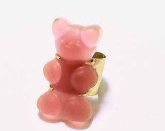 Gummy bear ring. Brass ring. Yummy ring. Bear ring. Modern jewelry. animal jewelry. contemporary OOAK, sweet.