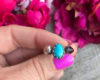 Mini Lacey Ring - Royston Turquoise and Garnet