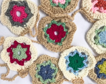 Crochet Bunting Granny Square Flowers Bunting, Flag Garland, Crochet Decorations, Crochet Banner, Boho Home