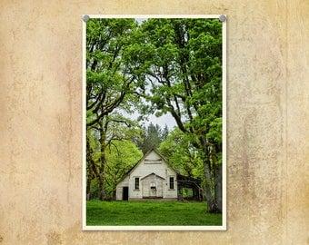 Schoolhouse Photo | Oregon Photography | One Room Schoolhouse | Oak Trees | Oakdale School | Country | Oregon | Rural Oregon Photo