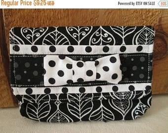 CIJSALE Modern Fabric Pouch White Black.Leaf Print  Polka Dot Bow Tie Trim Snap Closure