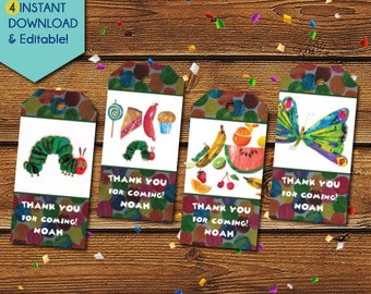 Very Hungry Caterpillar Thank You Tags, Very Hungry Caterpillar Party Favors, Very Hungry Caterpillar Birthday Tags, Party Tags, Gift Tags