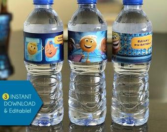 Emoji Water Bottle Labels, Emoji Movie Water Bottle Label Template, Emoji Wrappers, Emoji Water Bottle Wraps, Emoji Movie Wrappers