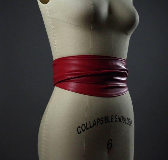 Vegan Leather Obi Belt - Red Leather Obi Belt - Women's Wrap Belt - Double Wrap Obi Belt