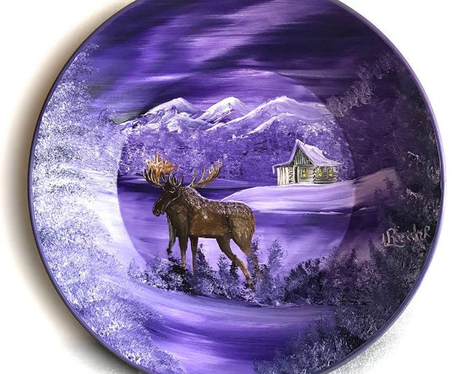 Hand Painted 11 Inch Gold Pans Mountain Lavender  Winter MOOSE Northern Lights