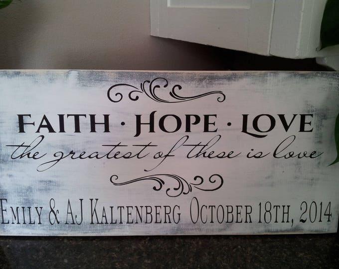 Corinthians Sign, Family Name Sign, Last Name Sign, Wood Name Sign, Wedding Gift, Anniversary Gift, Wedding Sign, Custom Gift, Faith Hope