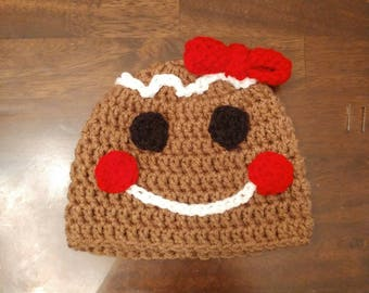 3-6 month gingerbread girl hat