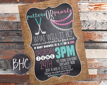 Gender Reveal Invitation. Gender reveal party. Putters or Pearls. Putters or Poms. Gender Reveal. Boy or Girl. baby Shower. What could it be