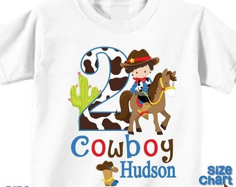 SALE Personalized Cowboy Western Brunette Birthday Party Shirt T-shirt Bodysuit Western Cowboy Hat Rope Cactus West Pretend Dress Up