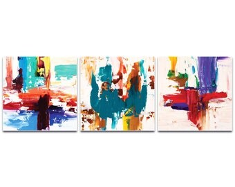 Abstract Wall Art 'Urban Triptych 2 Large' by Celeste Reiter - Urban Decor Contemporary Color Layers Artwork on Metal or Plexiglass