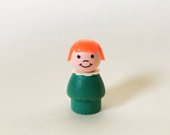 Vintage Fisher Price Little People Girl, Fisher Price Toys, Wooden Toy, Play Family, Red Hair, 1970s 1960s 1980s Childrens' Pretend Play