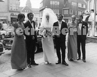Vintage Wedding Photos 1960s, Mid Century Collector Marriage Ceremony Photos Germany, Bride Groom Weding Party Photos
