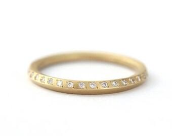 ON SALE Diamond Wedding Band, Half Eternity Band, Modern Wedding Band, Diamond Band, Pave Diamond Band, Matte Wedding Ring, Wedding Ring Dia