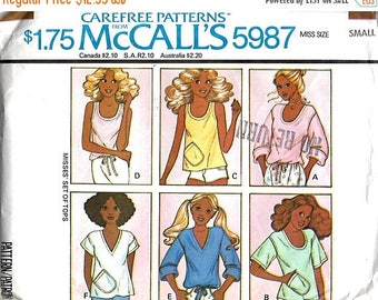 ON SALE 1970's McCall's 5987 Misses Set Of Tops Sewing Pattern, Size Small, UNCUT