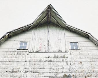 White Barn, Modern Farmhouse Art, Neutral Living Room Wall Art, Rustic Barn Photography, Country Home Decor, Farm Art   'Whitewashed'