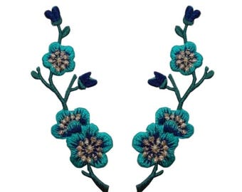 ID 6587AB Set of 2 Teal Blue Flower Bud Patch Branch Embroidered IronOn Applique
