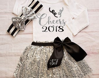 Baby Girl New Years Outfit...NB-7T Sizes- New Years Bodysuit /Top...1st New Years Outfit  / Silver Black New Years Outfit