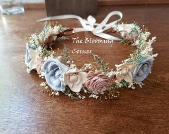 wedding accessories, bridal headband, bridal hair flower, sola rustic flower bridal hair crown, woodland wedding, bridal headpiece, boho
