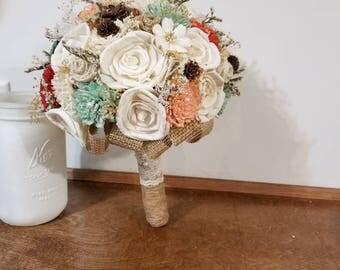Wedding Bouquet, Ready to ship, Sola wood Bouquet, Fall mint peach Bouquet,burlap,  Alternative Bouquet, Bridal Bouquet, Sola flowers,