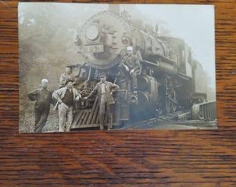 1 Vintage 1940's? Northern Sepia Tone Photograph Postcard Train Engine Engineers Railroad #443 Unpostmarked
