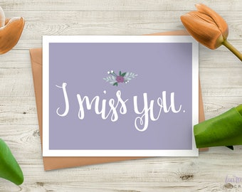 Hand Lettering Miss You Card