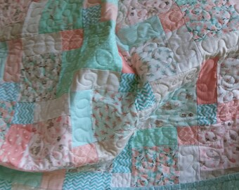 Baby girl quilt woodland critters aqua and peach, large baby toddler quilt, crib toddler bed quilt