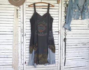 Slip Dress M/L, Upcycled Dress, Upcycled Clothing for Women, Hand Dyed, Hippie Boho, Artwear, Earth Colors, Upcycled T-shirt Dress
